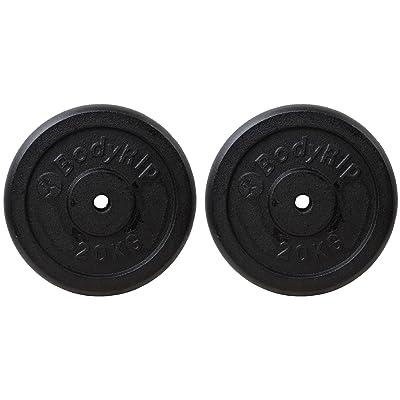 Bodyrip Disques de disques d'haltérophilie en fonte (lot de 2), mixte, Cast Iron Weight Lifting