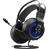 Mpow PC Gaming Headset 7.1 Surround Sound, PS4 USB Headset with Mic, Gaming Grade 50mm Drivers, Surround EQ Setting, Mic/Volume Control, Soft Earmuffs LED Gaming Headphones for PC, PS4
