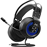 Mpow Eg3(Series II) PC Gaming Headset, 7.1 Surround Sound Computer USB Headset, Metal Frame, 50mm Driver, Quick Mic/Volume Control, Soft Over-Ear Ear Pads, LED Gaming Headphones for PC/PS4