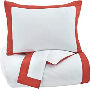 Ashley Furniture Signature Design - Ransik Pike Duvet Cover Set - Queen - Contains 3 Pieces - White/Coral