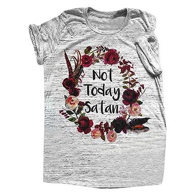 ec7964e9670 Siswong Pull Chic Femme T-Shirt Eté Sweat-Shirt Ados Fille Imprimé  décontracté O