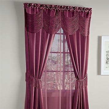 Amazon.com: Brylanehome Halley 6-Pc. One-Rod Curtain Set (Burgundy ...