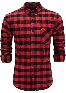 658ca595e9335 Emiqude Men's Flannel 100% Cotton Slim Fit Long Sleeve Button-Down Plaid  Dress Shirt