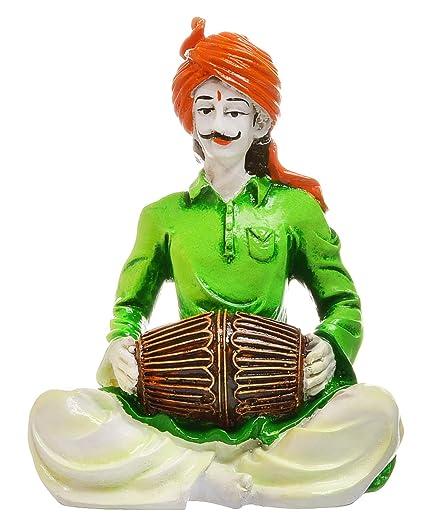 Karigaari Rajasthani Men Playing Dholak Polyresine Idol (15.24 cm x 15.24 cm x 15.24 cm)