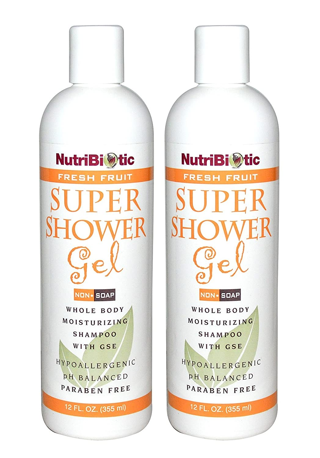 NutriBiotic Fresh Fruit Super Shower Gel (Pack of 2) with Grapefruit Seed Extract, Cucumber, Matricaria and Comfrey, 12 fl. oz.