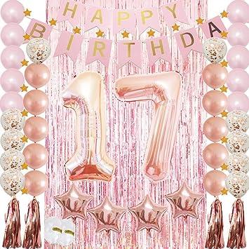 17th Birthday Decorations Rose Gold