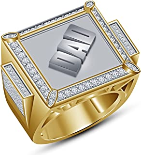 Vorra Fashion 925 Sterling Silver 14K Gold Plated DAD Word Ring With Round Cut White CZ
