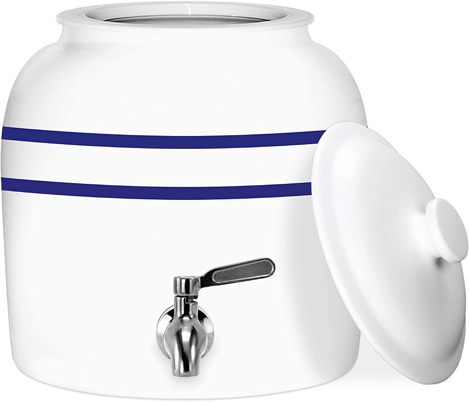 Geo Sports Porcelain Ceramic Crock Water Dispenser, Stainless Steel Faucet, Valve and Ceramic Lid Included. Fits 3 or 5 Gallon Jugs. BPA & Lead Free (Blue Stripe)