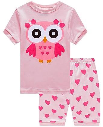 bd25829fef14 Girls Pajamas 100% Cotton Owl Toddler Pjs Summer Short Set Toddler Clothes  Kids Sleepwear 2t
