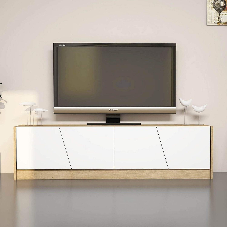 MINAR by Homemania Puerto TV, Mueble para la televisión Gold, Roble/Blanco: Amazon.es: Hogar