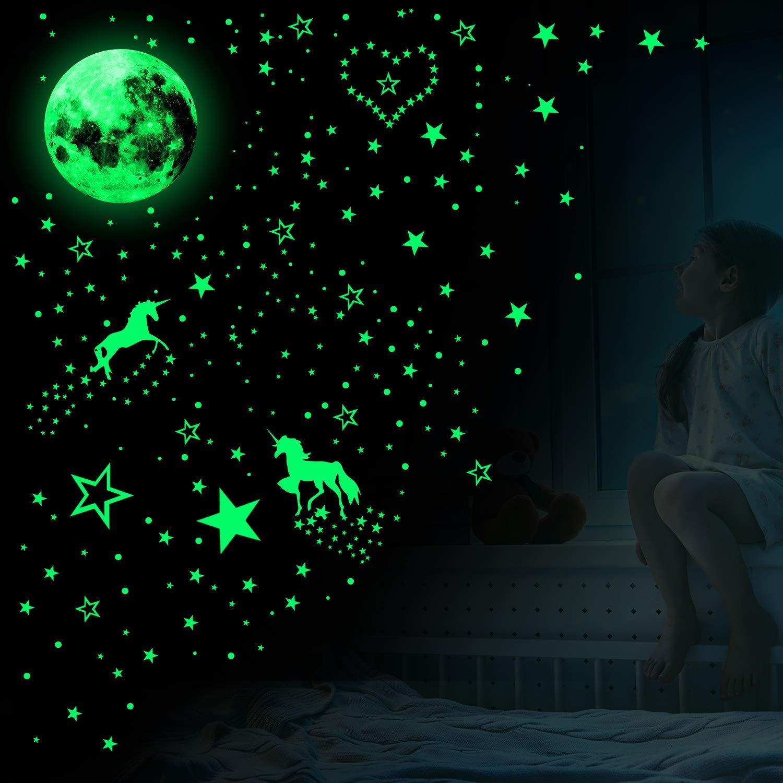 Aomier leuchtsterne selbstklebend sternenhimmel Leuchtsticker Wandtattoo Einhorn Wandtattoos Leuchtende Aufkleber Kinder Glow Sticker Leuchtsticker I Wand Deko f/ür Kinderzimmer Schlafzimmer