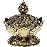 Grifri Lotus Incense Smoke Cone Aroma Burner Holder Stove Backflow Censer Decor - Bronze