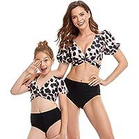 Mommy and Me Swimwear, Family Matching Women Girls Swimsuit Two Pieces Bikini Set Puff Sleeve Bathing Suits