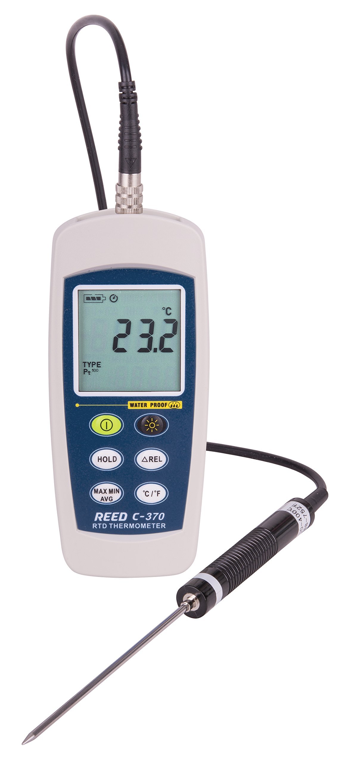 REED Instruments C-370 RTD Thermometer, -148 to 572°F (-100 to 300°C), Waterproof (IP67)