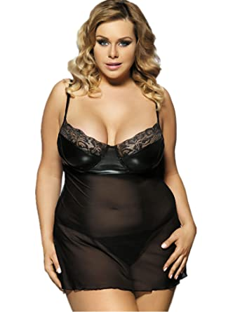 989cb90af ohyeah Women s Nightwear Faux Leather and Mesh Patchwork Plus Size Babydoll  Lingerie Black US ...