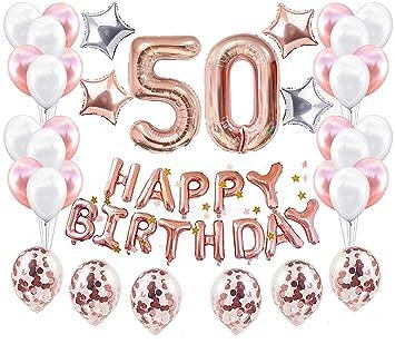 JeVenis 38 PCS Rose Gold 50th Birthday Decorations Artículos ...
