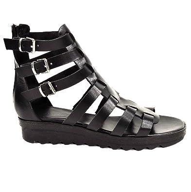 check out 60412 fbcf6 DONNA PIU' Black Flat Leather Gladiator Sandals