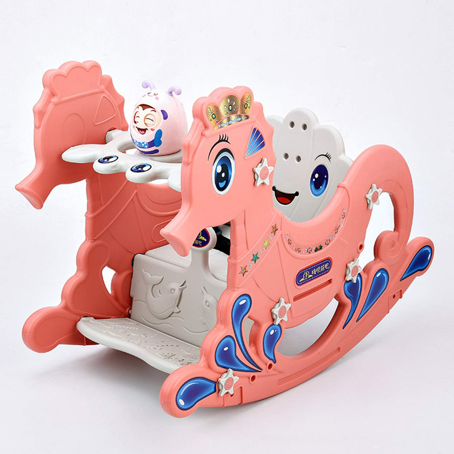 AIBAB Baby Rocking Horse Hippocampus Tumbler Musical Toy Baby Comfort Chair Plastic Multifunction