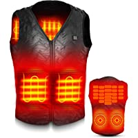 電熱ベスト 電熱ジャケット サイズ調整可能 USB加熱 バッテリー給電 3段階温度調整 5つヒーター 男女兼用 水洗い可能 アウトドア防寒対策 加熱服 ブラック
