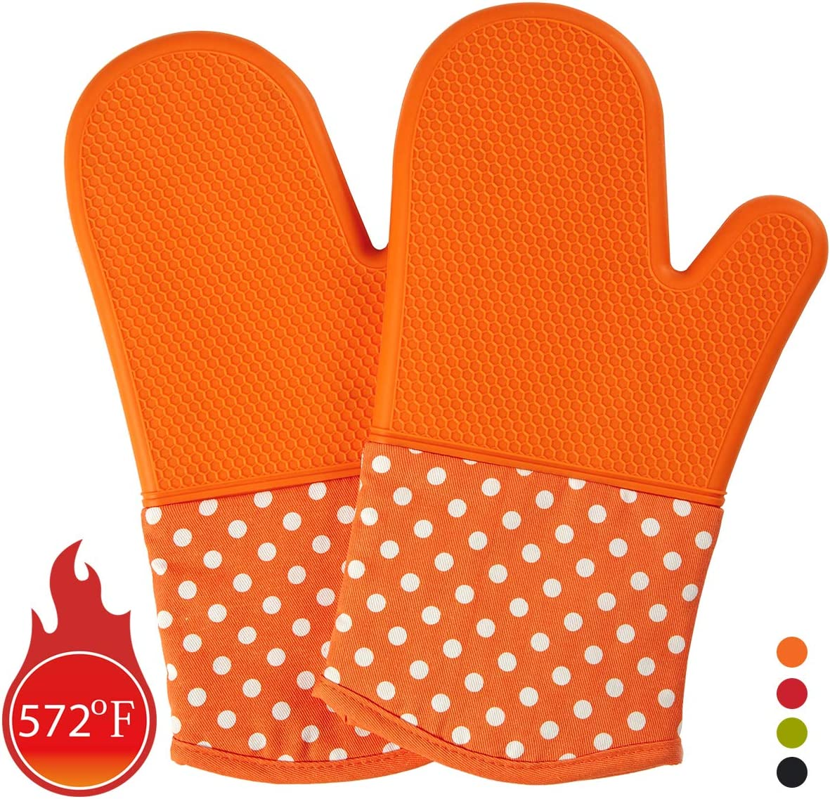 N2 Heat Resistant Silicone Kitchen Oven Mitts, Extra Long Professional Oven Mitt for 572°F, Set of 2 Oven Gloves with Quilted Liner for BBQ Cooking, Protect Hands from Hot Surfaces, Orange, 13 Inch