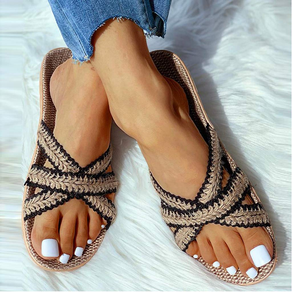 70% Off Coupon – Women Cross Braid Linen Slippers