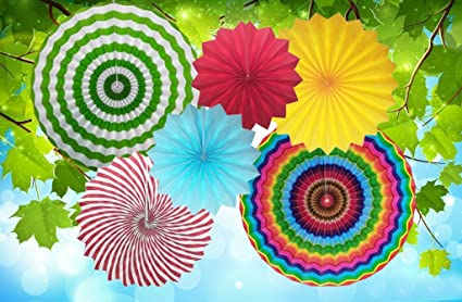 Amazon.com: Mexican Fiesta Party Decorations Hanging Paper Fans ...