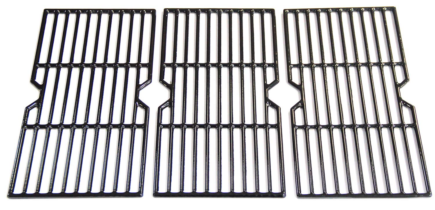 VICOOL HyG612C Porcelain Coated Cast Iron Cooking Grill Grate Replacement for Charbroil, Kenmore, Broil King, Master Chef Gas Grill Models, Set of 3
