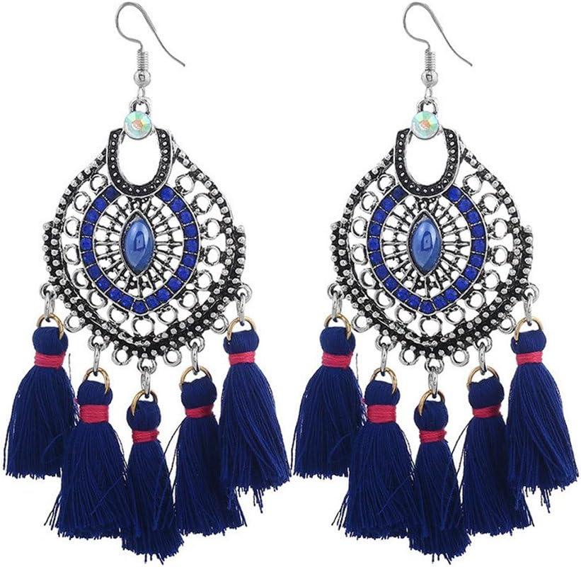 Emorias 1Pair Pendientes Vintage de Diamantes Estilo Nacional Piedras Preciosas Borla Pendiente de Perno Pendientes de Mujer de Moda Joyería Accesorios - Azul