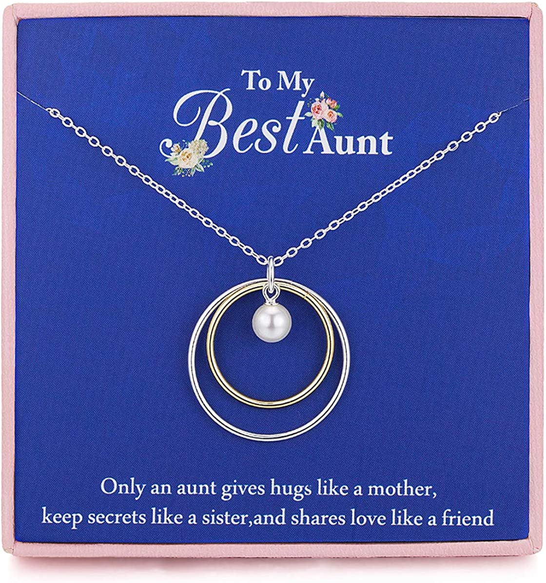 RareLove Best Aunt Gifts 925 Sterling Silver Two Interlocking Infinity Circles One Faux Pearl Pendant Necklace Mothers Day Gift For Aunt From Niece Nephew Adjust Chain From 16