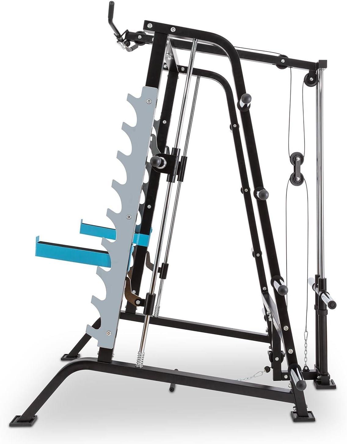 Multi-Kraftstation Latzugmaschine Squat Power Rack blau-schwarz Kraftstation 2 x Safety Spotter Gewicht-Ablage 9 H/öhenstufen gef/ührte Langhantelstange Capital Sports Squatster