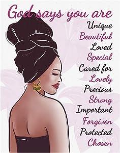African American Wall Art - Inspirational Black Women Bible Verse Canvas Wall Art - Motivational Decor Poster for Black Girls, Teens, Women - Bedroom, Living Room, Dorm Apartment, 11'' x 14''