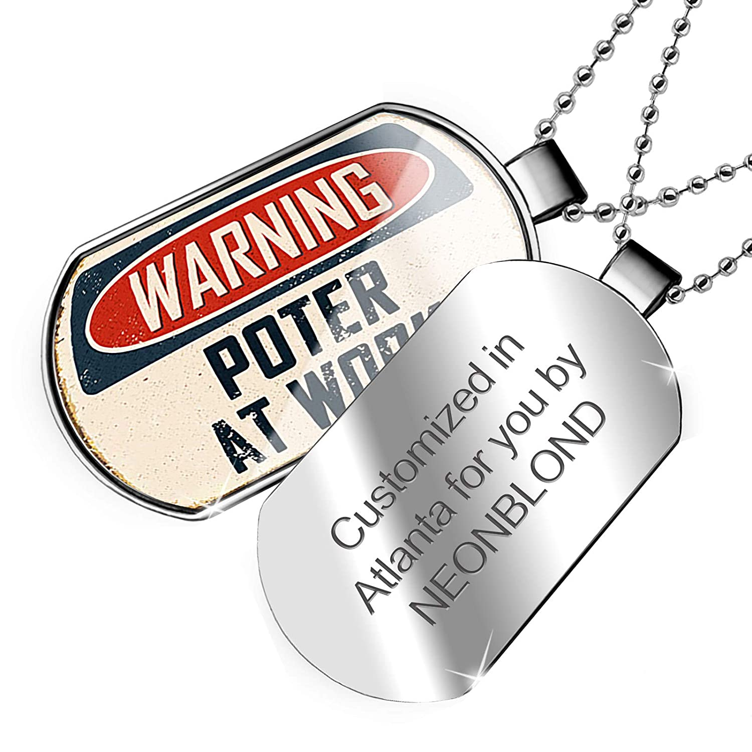 NEONBLOND Personalized Name Engraved Warning Poter at Work Vintage Fun Job Sign Dogtag Necklace