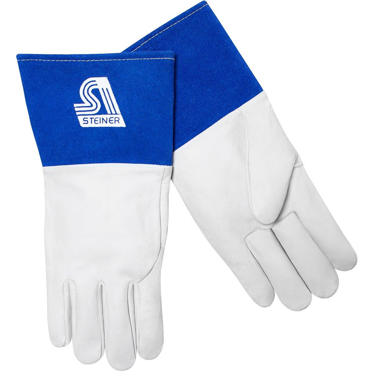 Premium Grain Kidskin Unlined 4-Inch Blue Cuff Wing Thumb Large Steiner 0222-L TIG Gloves