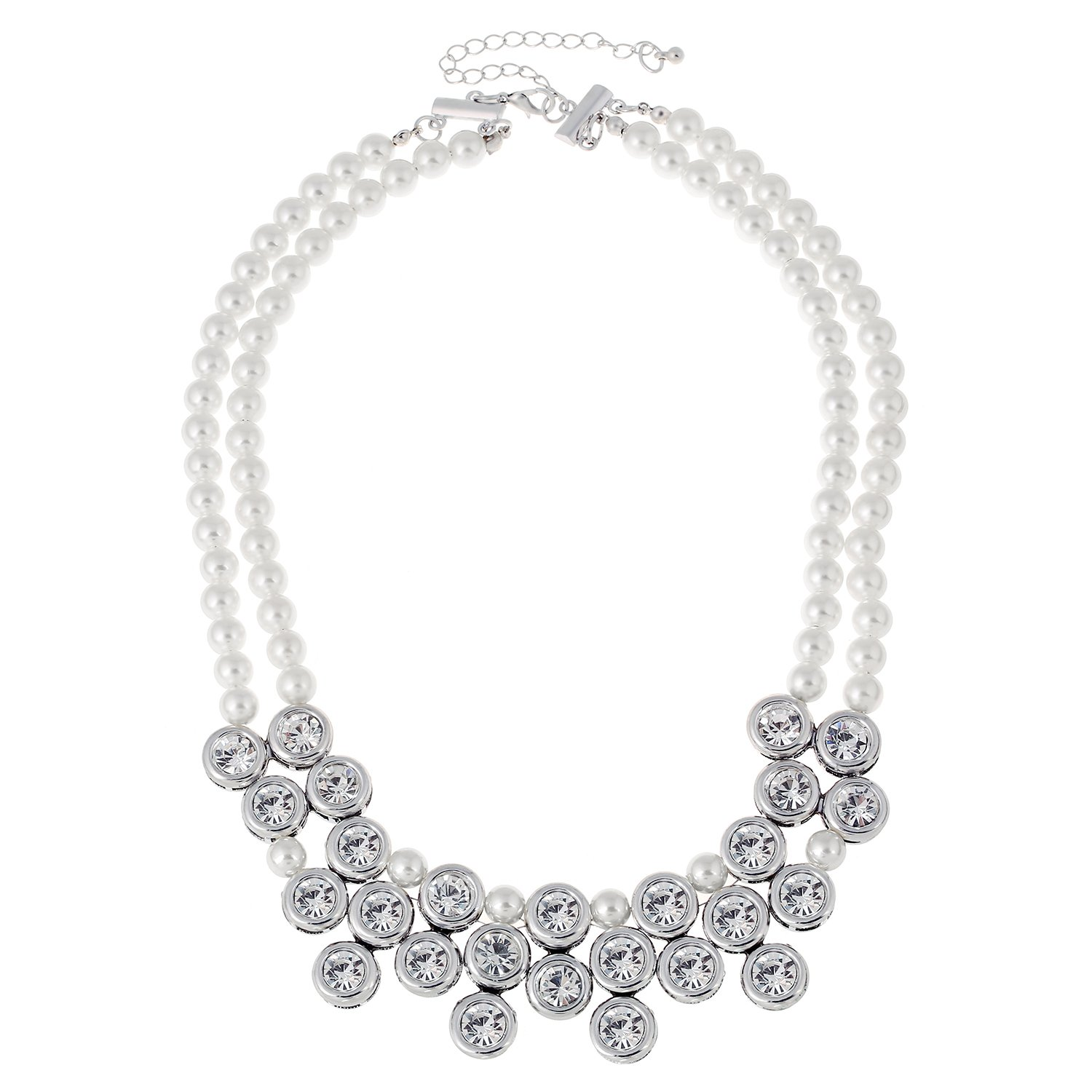D EXCEED Statement Party Jewelry Necklace Crystal Pearl Coller Choker for Women and Ladies