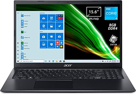 """Acer Aspire 5 A515-56-36Q1 Pc Portatile, Notebook con Processore Intel Core i3-1115G4, Ram 8 GB DDR4, 256 GB PCIe NVMe SSD, Display 15.6"""" IPS FHD LED LCD, Intel Iris Xe, Windows 10 Home in S mode"""