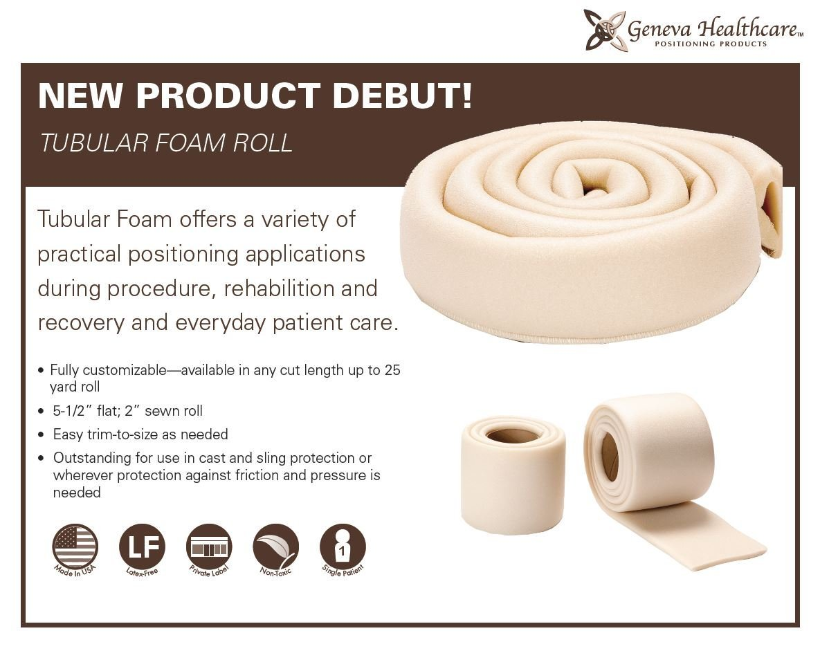Geneva Healthcare Tubular Foam Roll - 6 Feet x 2.5'' Wide - Sewn -12/CS