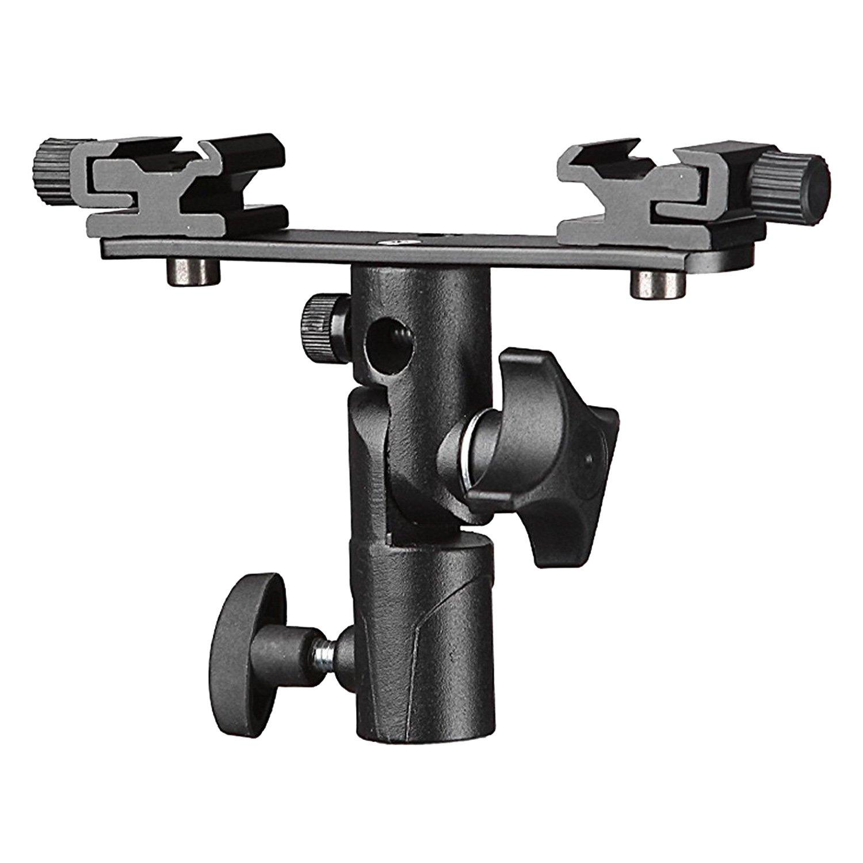 Elisona-Professional Universal E Type Camera Flash Light Speedlite Mount Stand Bracket Holder with Dual Shoe Holder Umbrella Mounting Socket