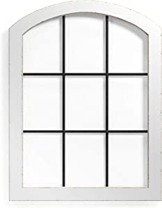 Barnyard Designs Rustic Cathedral Arch Window Frame, Decorative Wood and Metal Window Pane Wall Art, Vintage Farmhouse French Country Home Decor, White, 15.75