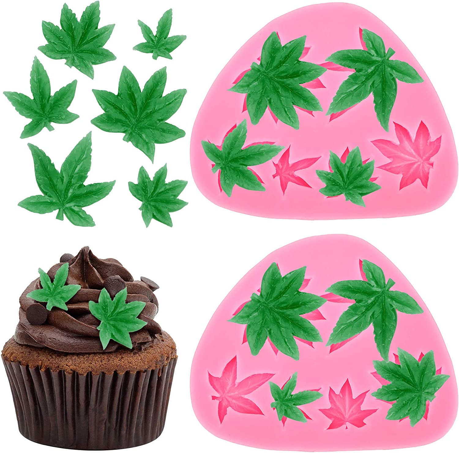 2 Pieces Weed Leaf Cake Fondant Mold Pot Leaves Silicone Mold for Weed Leaf Theme Cake Decoration, Chocolate Candy Polymer Clay Cookie Sugar Craft (Rose Red)