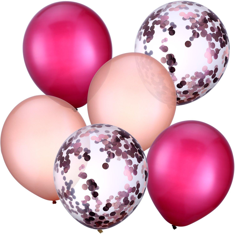 Jovitec 30 Pezzi 12 Pollici Palloncini in Lattice Palloncini di Coriandoli per Matrimonio Ragazze Baby Shower Festa Decorazione (Vino Rosso e Oro Rosa)