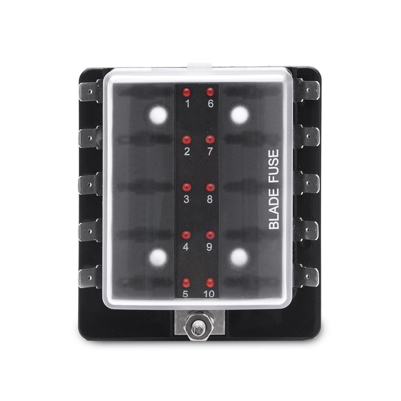 Mictuning Led Illuminated Automotive Blade Fuse Holder Home Tube Box 10 Circuit Block With Cover