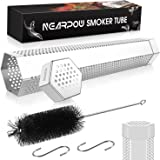 NEARPOW Pellet Smoker Tube, 6 Hours of Billowing Smoke, 2 Caps and Non-perforated at One Side, Portable Cold Hot Smoking Tube