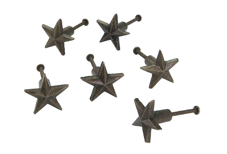 Dritz Home 47066A Cast Iron Star Knob, Bronze, 6 Each, 6 Piece