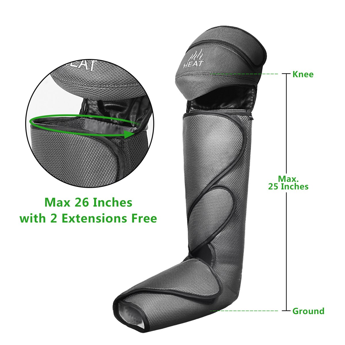 FIT KING Leg & Foot Air Massager and Knee Warmer for Foot Calf and Knee Circulation Massage with Size Extensions and 3 Modes 3 Intensities by FIT KING (Image #6)
