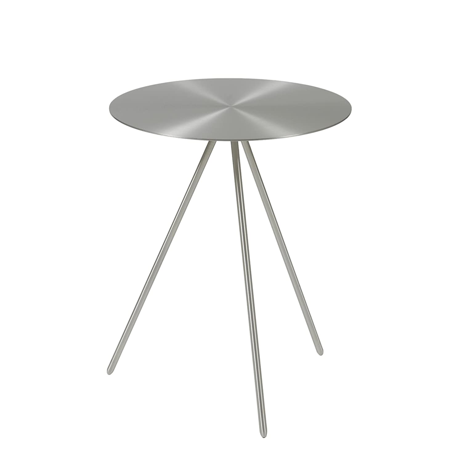 Euro Style Faith 16-inch Round Brushed Steel Side Table