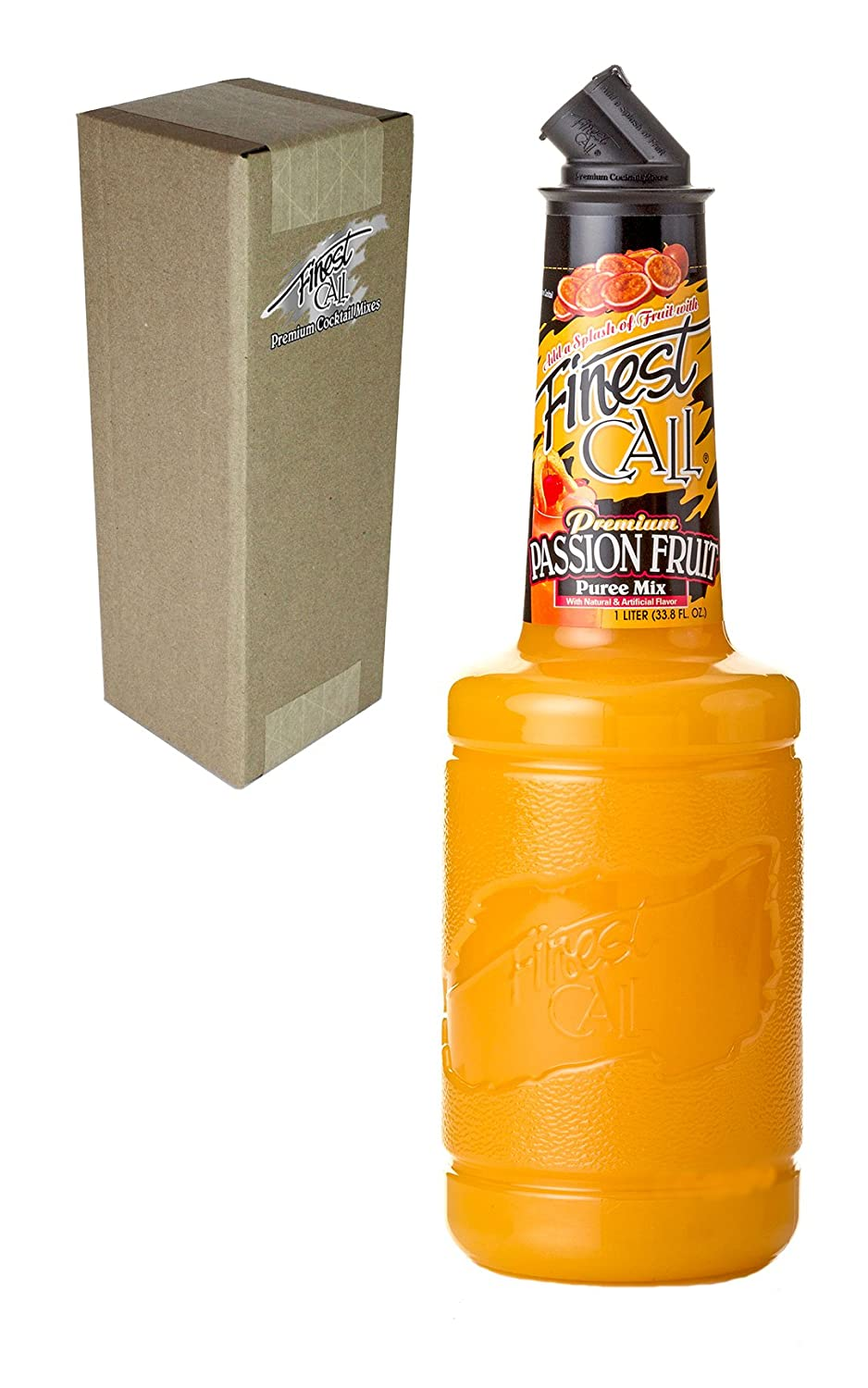 Finest Call Premium Passion Fruit Puree Drink Mix, 1 Liter Bottle (33.8 Fl Oz), Individually Boxed