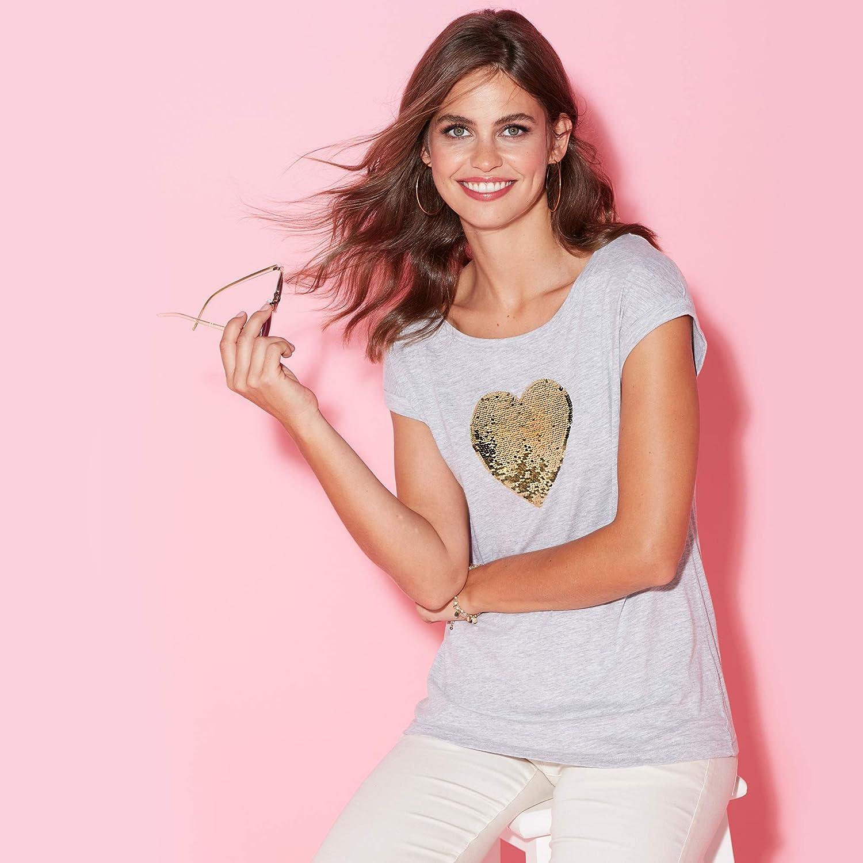 VENCA Camiseta Lentejuelas bidireccionales en el Delantero Mujer by VencaSty 022766