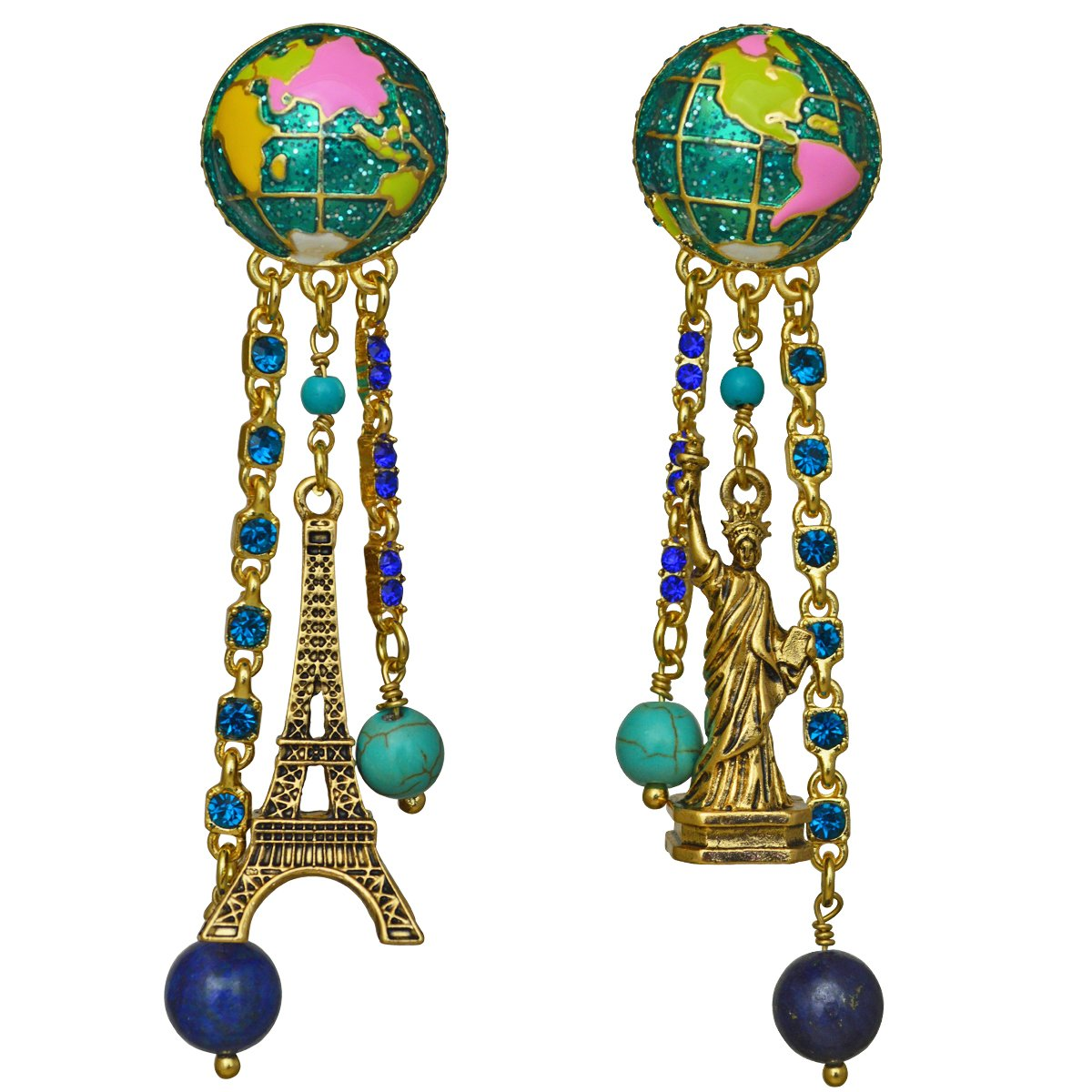 Ritzy Couture We Are the World Travel Eiffel Tower & Statue of Liberty Earrings, Goldtone (Post)