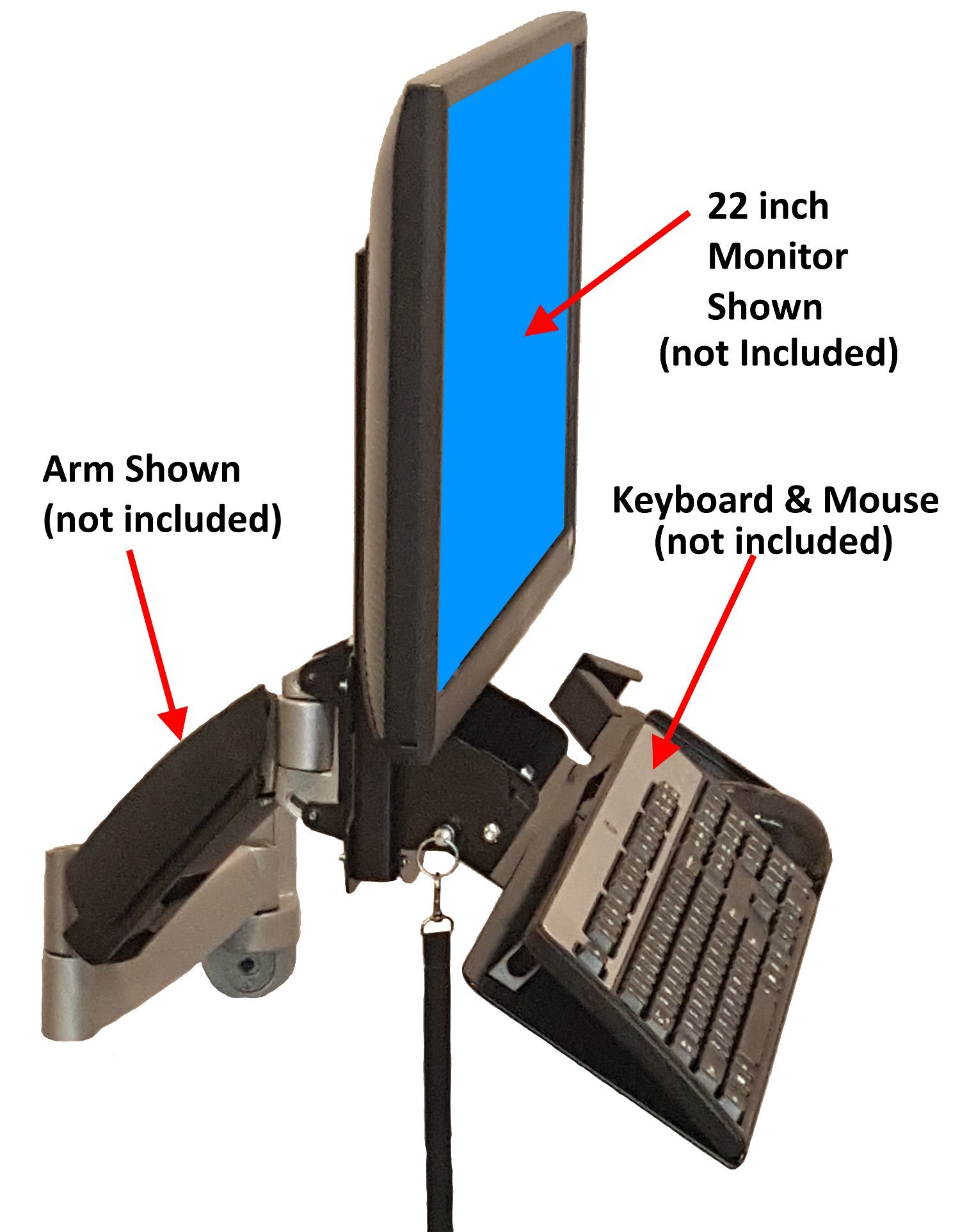 SDS iMount 4.0 Keyboard & Monitor Wall Mount w/ Tilt, Fold Away Adjustable Tray System 7x18 Tray + Mouse Ext. (Mounts Directly To The Wall) Manufactured in Michigan