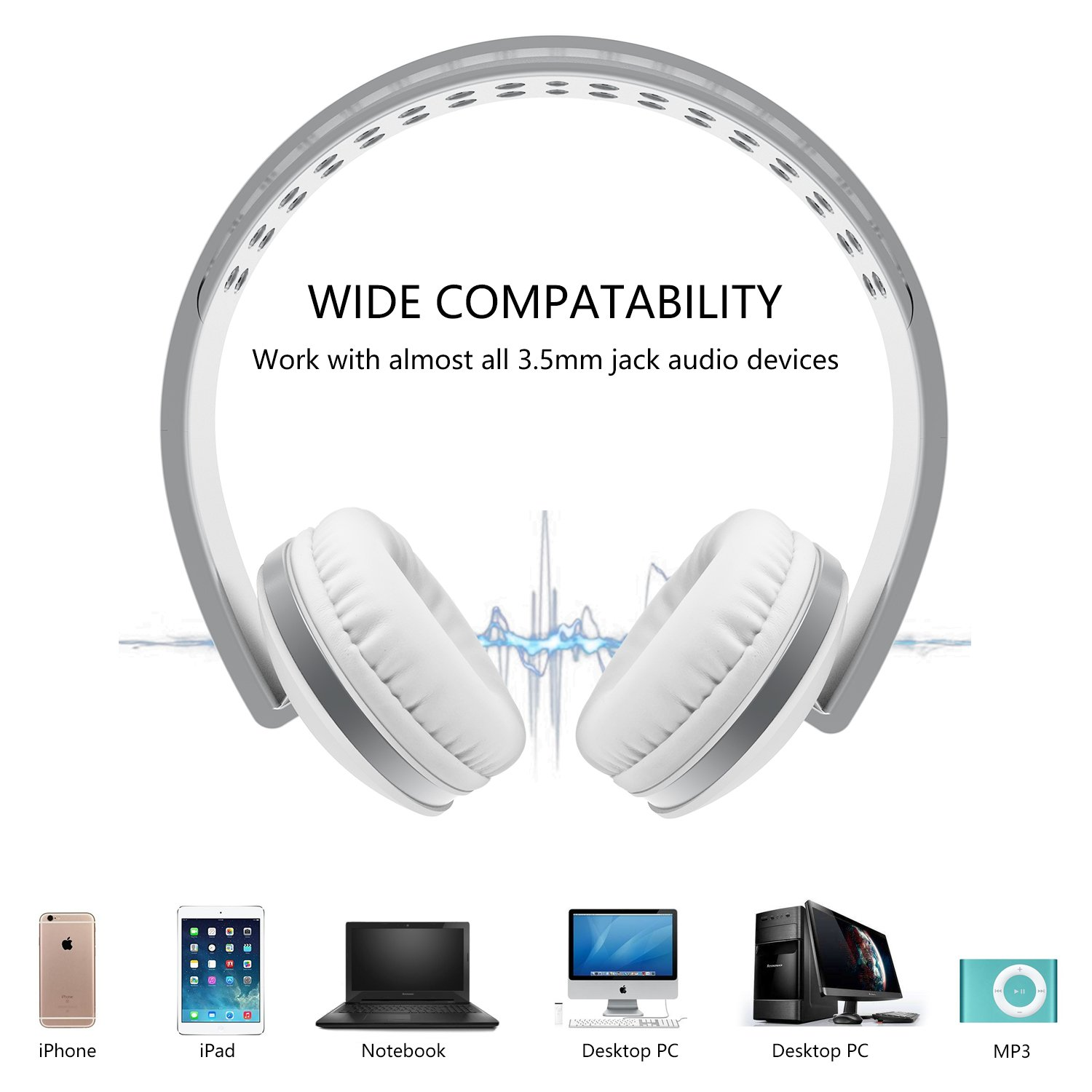 Foldable Headphones with Microphone, Vive Comb Stereo Lightweight Adjustable PC Headset Wired Headphones with Volume Control for Tablet, Smartphones, Video Game, Laptop-White by Vive Comb (Image #2)